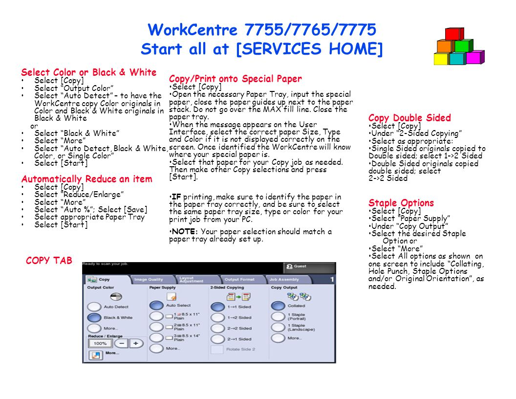 WorkCentre 7755/7765/7775 Start all at [SERVICES HOME]